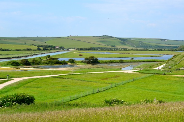 View of Cuckmere valley from the coastal downs - National Trust