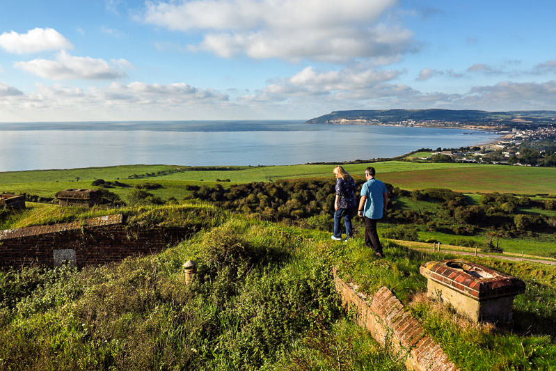Walkers at Bembridge Fort on Bembridge Down, Isle of Wight