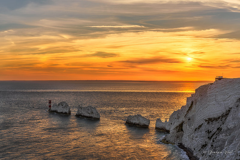Sunset over the The Needles Isle of Wight - National Trust