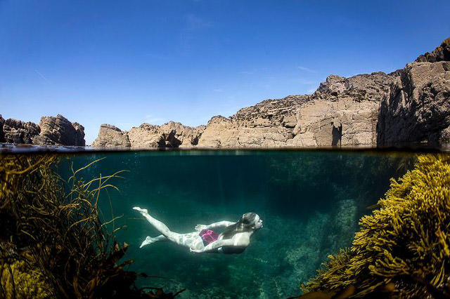 Swimming in tidal pools created by Cornish miners
