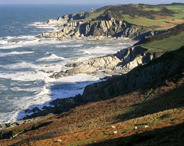 Spectacular coastal view of Bull Point from Morte Point, North Devon