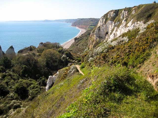 Spectacular coastal view from Hooken cliffs, Devon