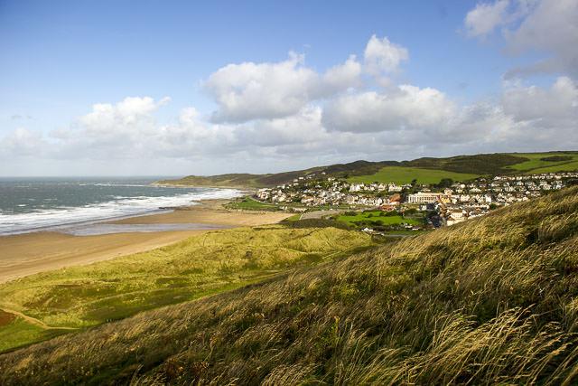 View over Woolacombe Beach and coastline, North Devon