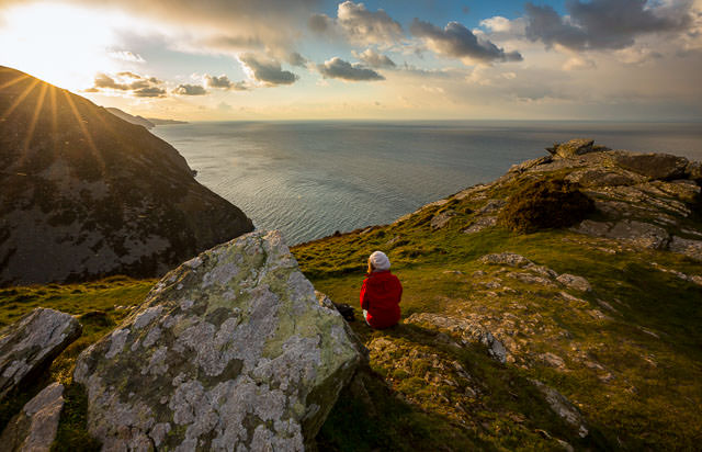 Walker Enjoying the View Cliffs near Heddon Valley, Exmoor National Park, Devon